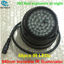 Lihmsek 940nm IR Illuminator with 48pcs IR Infrared LEDs for CCTV Camera 60 90 degree, Small Miniature White Black housing(China)