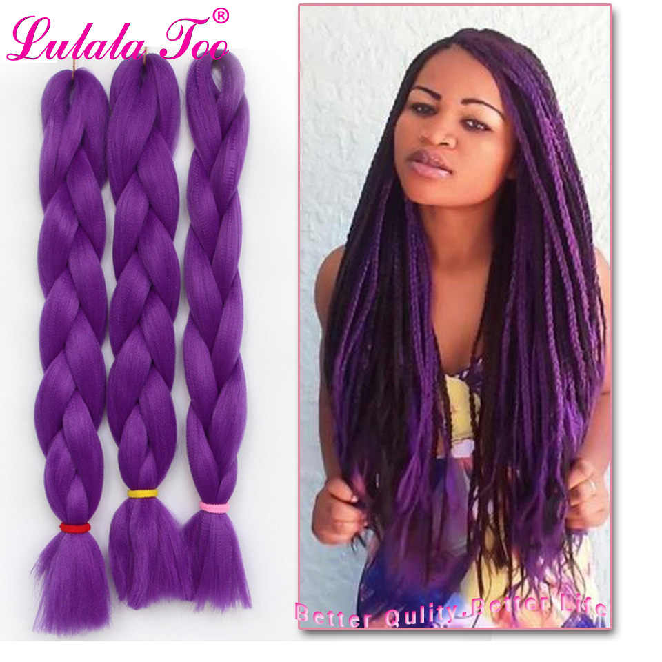 24inch Synthetic Jumbo Braids Hair 100g/Pack Crotchet Braids Braiding Hair Crochet Hair Extensions Pure Color