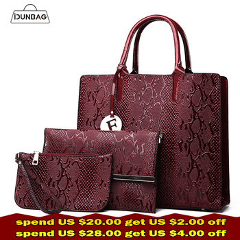 3Pcs Snake Serpentine Women Handbags Set High Quality Pu Leather Shoulder Tote Bag+Chain Female Messenger Bags+Mini Clutch Purse Сумка