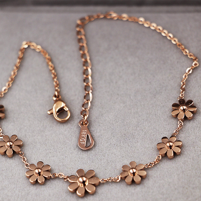 New Titanium Steel Brand Jewelry 7 Daisy Anklets For Women Rose Gold Color Fashion Prevent Allergy Summer Jewelry 5