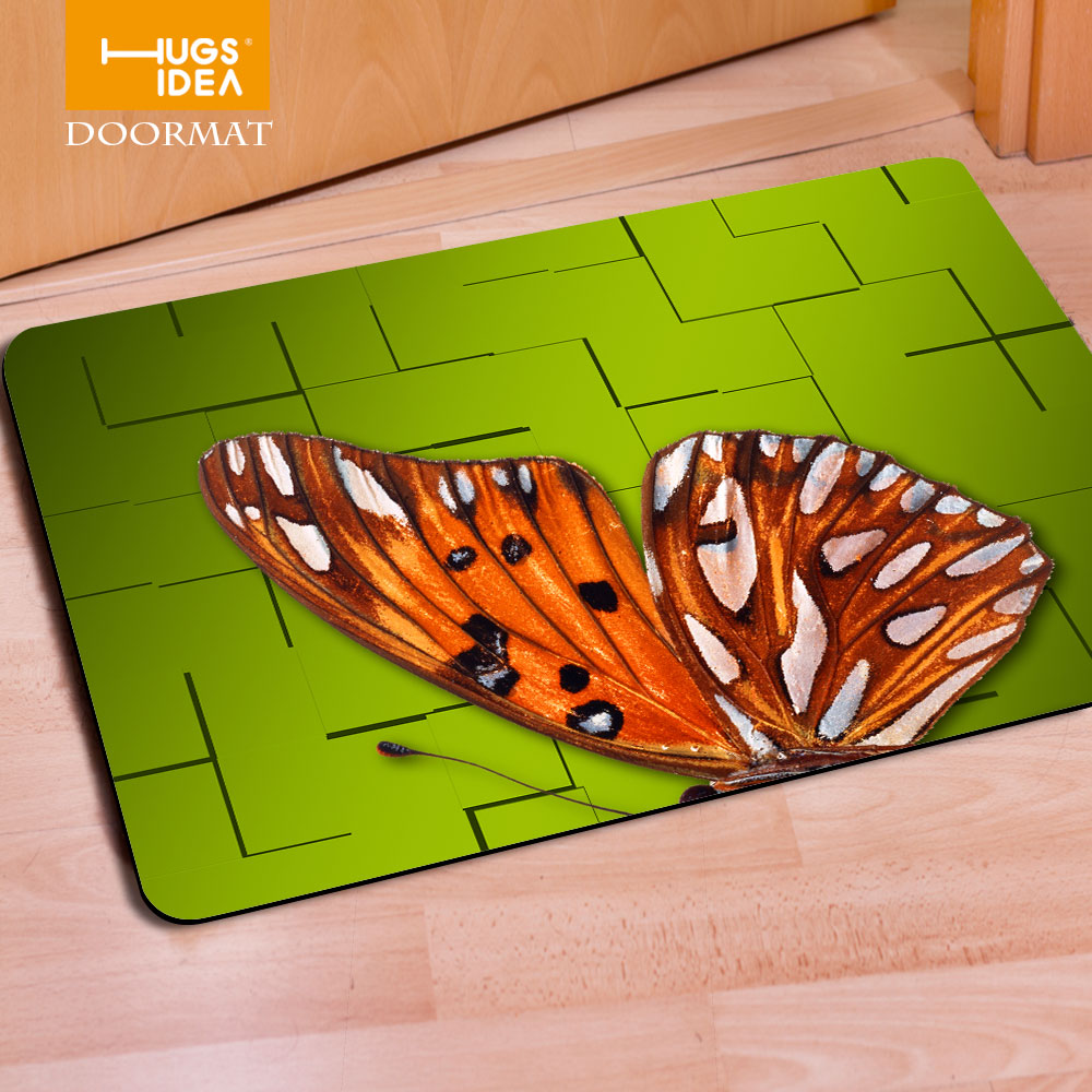 Funny bathroom rugs - Hugsidea New Fashion Butterfly Entrance Carpets 3d Animals Printed Rugs Home Decoration Carpet For Living Room