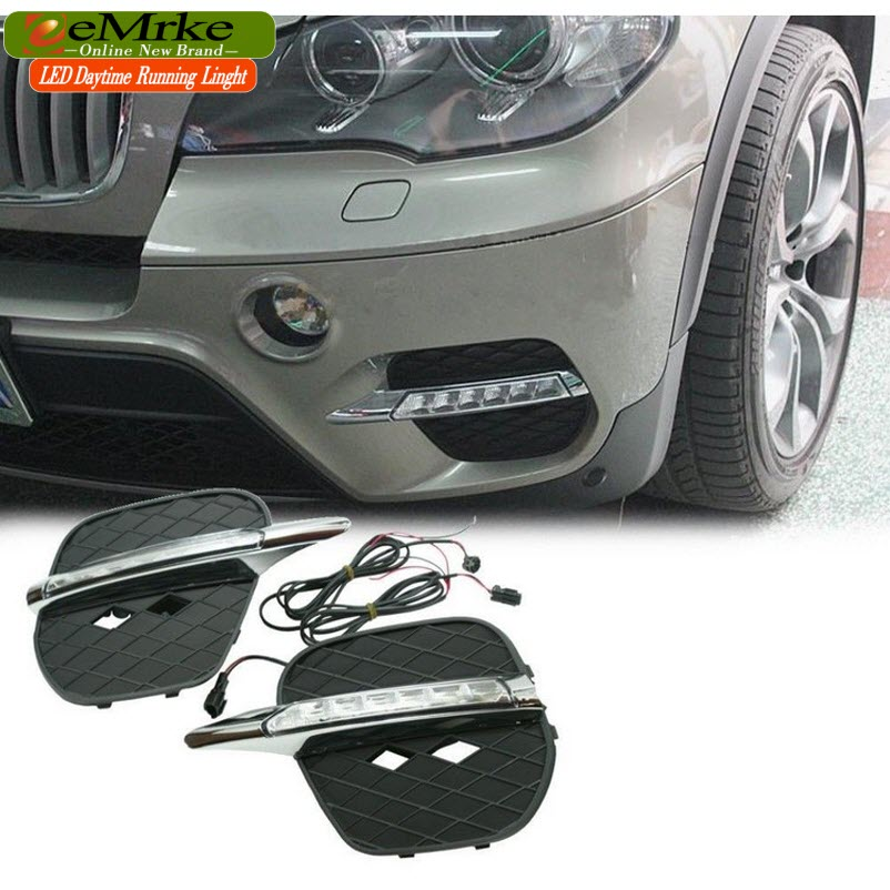 eeMrke Car LED DRL For BMW X5 E70 2011-2012 High Power Xenon White Fog Cover Daytime Running Lights Kits wcb 100 cast iron portable electric gear thermal heavy oil pump