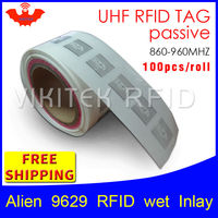 UHF RFID tag EPC 6C sticker Alien 9629 wet inlay 915mhz868mhz860 960MHZ Higgs3 100pcs free shipping adhesive passive RFID label