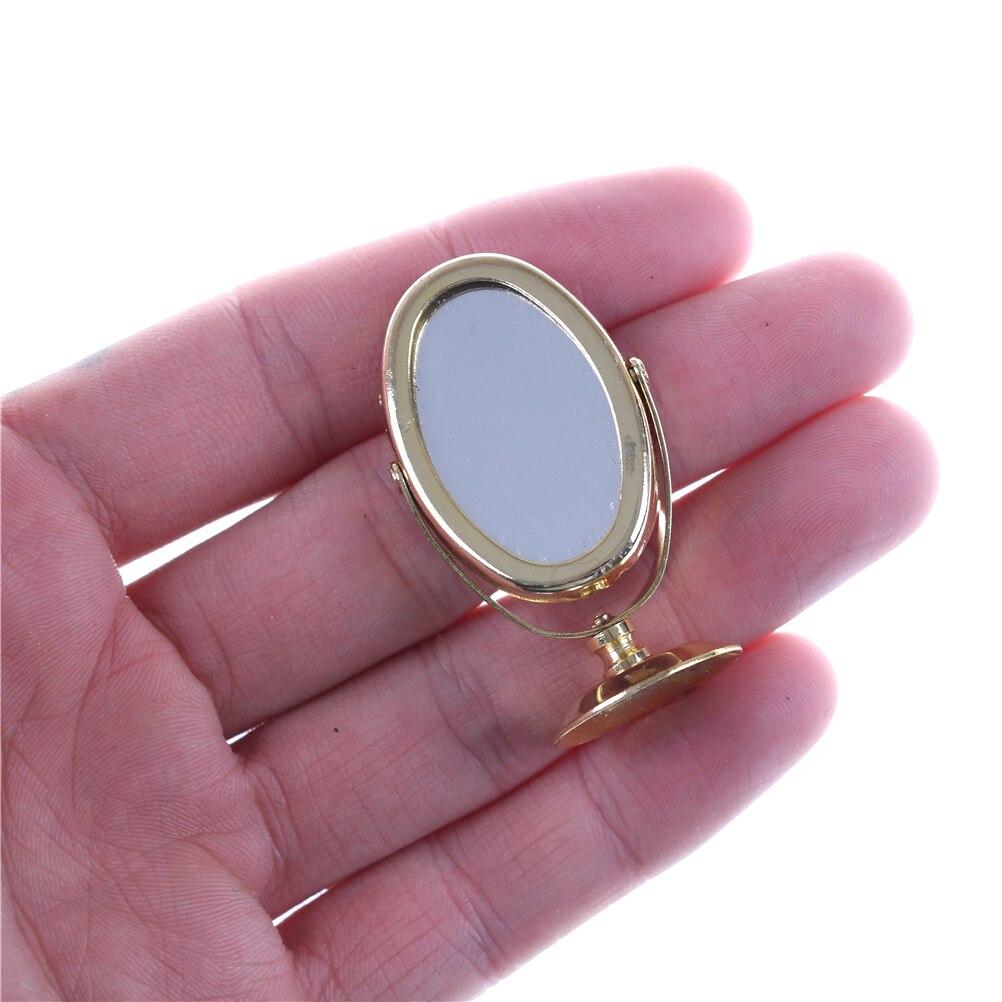 1/12 Metal Dollhouse Miniature Dressing Table Mirror Gold Tone Pretend Play Furniture Children Simulation Girl Toys