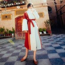 Wool Coat Women Winter Long Women Coat Female Wollen Coat Wide-waistrd Maxi Elegant Wool Women Casual Belt Turn-down Collar