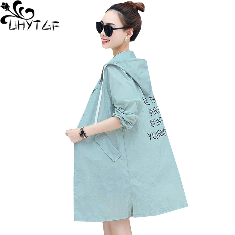 UHYTGF New Summer Tops Jacket Women Loose Plus Size Sun Protection Clothing Breathable Thin Coats Hooded Female Long Coat 1430