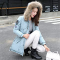 2016 New Solid Winter Coat Women Warm Long Fur Collar Hooded Jacket Female Casual Down Cotton Padded Coat Outerwear Parkas WY317