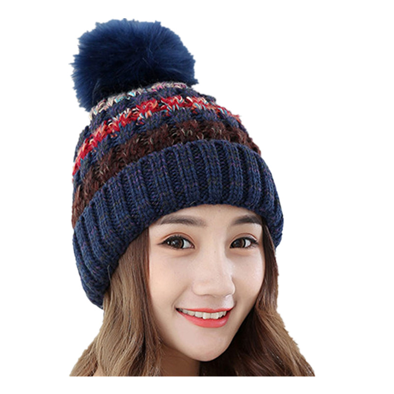 Autumn Winter Knitted Wool Hats For Women Fur Pompon Beanies Crochet Hat Female Warm Caps Mix Color Women Skullies Beanies F2 fine three dimensional five star embroidery hat for women girls men boys knitted hats female autumn winter beanies skullies caps