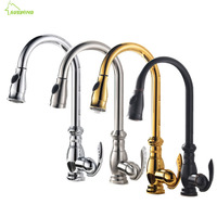 Antique Crane Kitchen Faucet Brass Polished Gold Silver Swivel Basin Faucet Black Finish Single Handle Pull
