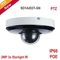 DH poe ptz Камера SD1A203T GN 2MP 3 x Starlight инфракрасная сетевая камера STARVIS CMOS ИК 15 м для наружного IP66 камера видеонаблюдения