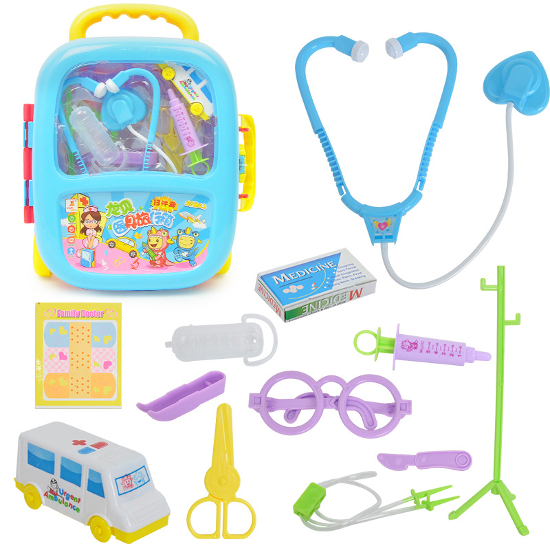 Children simulation small doctor toy set, family stethoscope, bottle, medical appliance, pull rod box, suitcase toy. obsessive doctor dress stethoscope