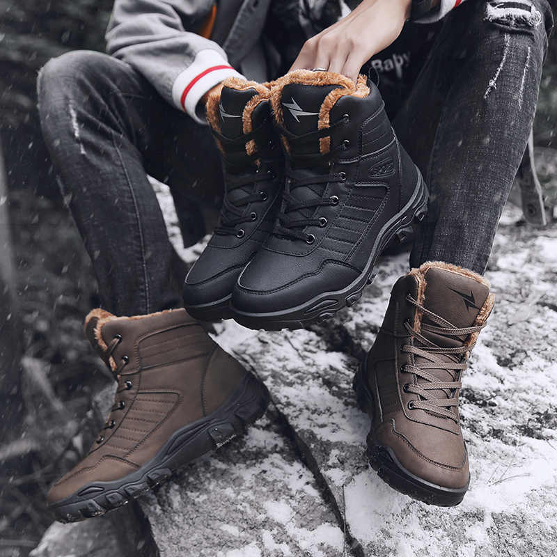 Mens Snow Hiking Shoes High top Winter Sneakers Warm Shoes Fashion Outdoor Boots