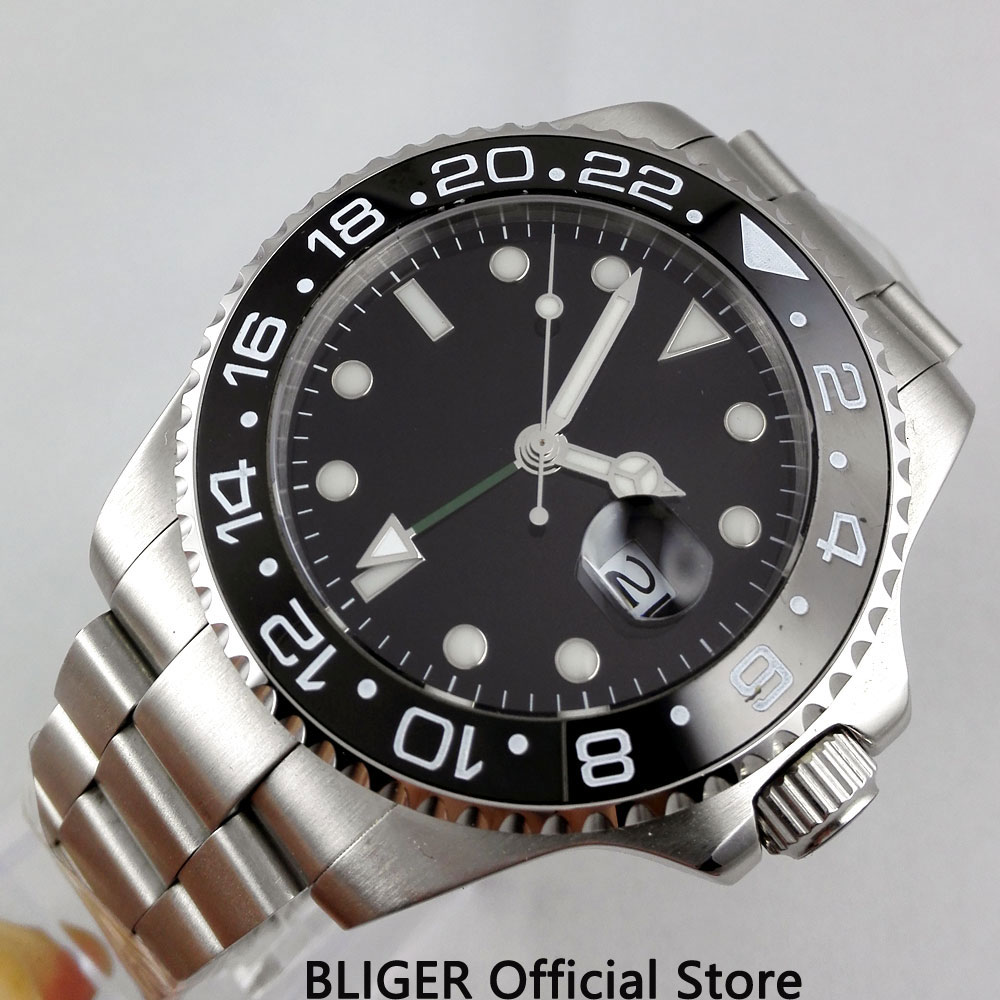 BLIGER 43MM Black Dial GMT Function Sapphire Crystal Luminous Marks Ceramic Bezel Automatic Movement Men's Watch Date Display