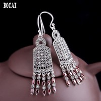 Ethnic style handmade 100% 925 pure silver delicate tassel women's natural pomegranate red earrings