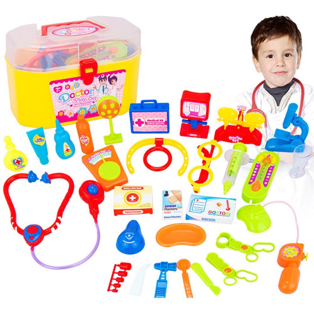 30 Pieces/Set Children Pretend Play Doctor Nurse Toy Set Portable Suitcase Medical Kit Kids Educational Role Play Classic Toys