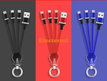 3in1 USB Cable for iPhone X 8 7 6 Micro Type C Samsung S9 S8 Charging 2.4A Charger Cord