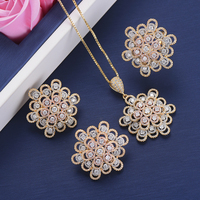 3 Pcs Classic Nigerian Jewelry Sets Full Cubic Zirconia Inlaid Geometric Wedding Necklace Earrings Resizable Ring Jewelry Sets