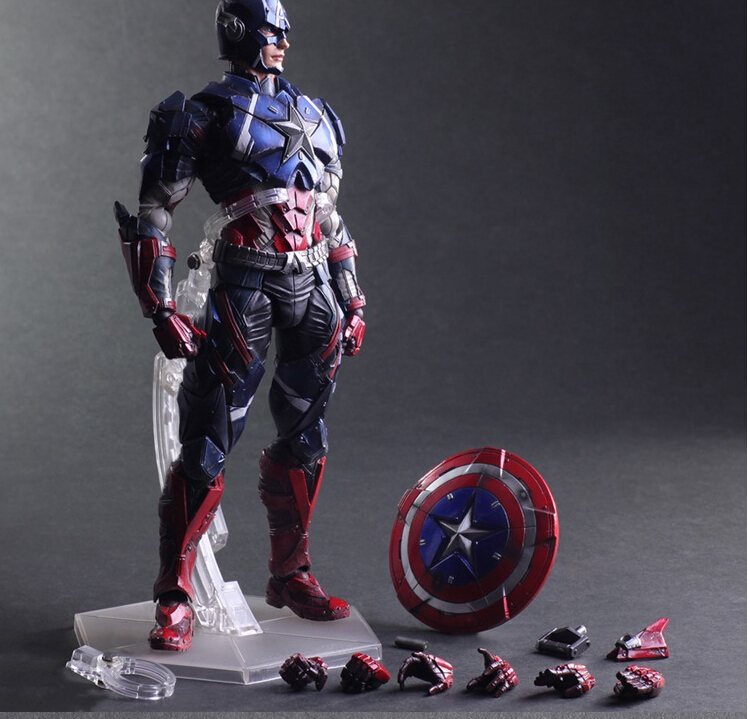 Captain America Action Figure Toys Play Arts Kai Collection Model Anime Captain America Playarts Toy devil may cry action figure dante play arts kai toys collection model anime devil may cry playarts toy