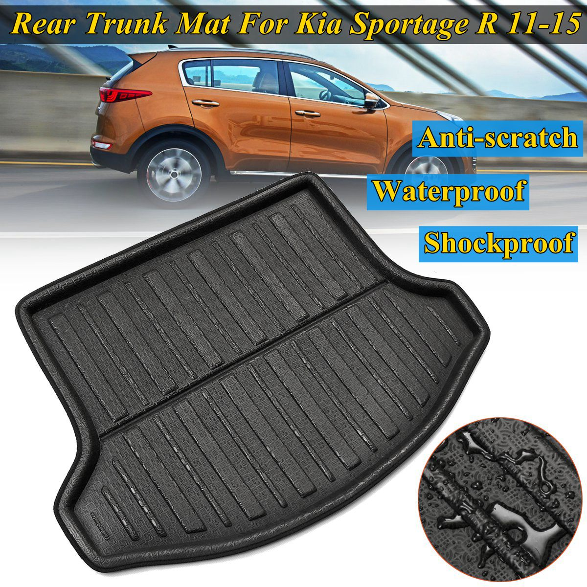 Rear Floor Trunk For Kia Sportage R 2011 2012 13 14 2015 Floor Mat Cargo Boot Liner Car styling Accessories Interior Waterproof