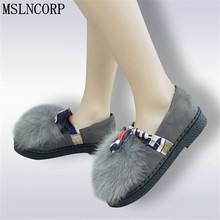 Plus Size 34-45 New Women Shoes Autumn Winter Real Rabbit Fur Platform Flats Warm Loafers Ladies Slip On Plush Boat