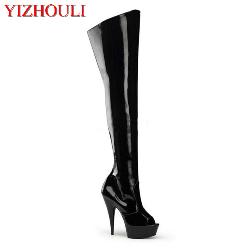 sexy fish mouth 15 cm high heels with knee-high boots appeal conical with knee-high boots , pole dancing 20cm pole dancing sexy ultra high knee high boots with pure color sexy dancer high heeled lap dancing shoes
