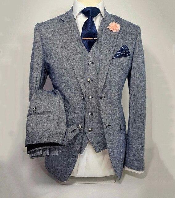 Mens Suits designers 2018 Grey Tuxedo Wedding Suit For Men Slim Fit Formal  Prom  Business Groom Custom Blazer 3 Pieces