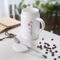 Simples copo de água caneca de cerâmica pequeno fresco fosco com tampa do novo café da manhã caneca copo com colher de chá de leite de café