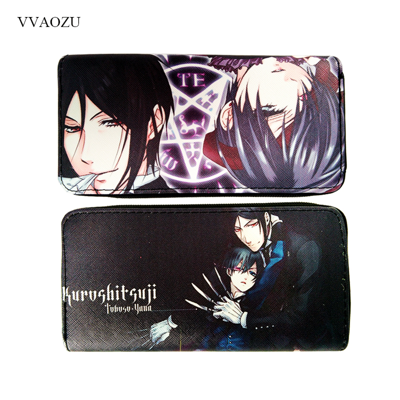 Black Butler Wallets Cartoon Purse Long Design Clutch Coin Wallet PU Leather Card Holder Phone Bag new fashion style cartoon wallet one piece hokage ninjia black butler pu purse men wallets one punch man anime kids hasp wallet