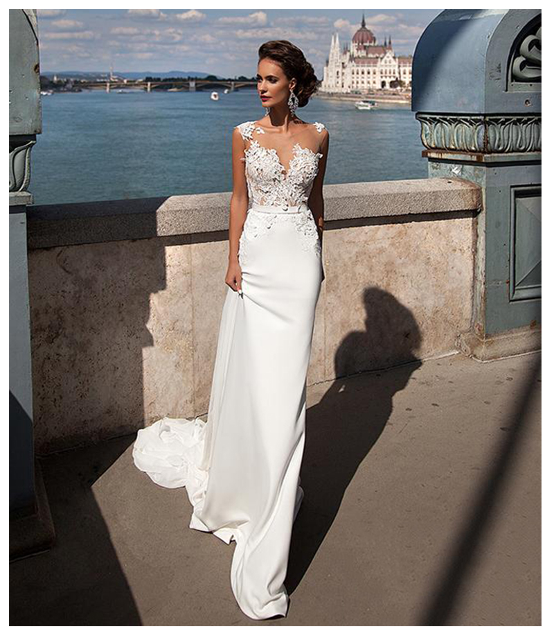 Sofuge Boho Mermaid Wedding Dress 2019 See Through Neck Appliques Chiffon Bride Dress Long Train Sexy Wedding Gown For Women Activating Blood Circulation And Strengthening Sinews And Bones Wedding Dresses