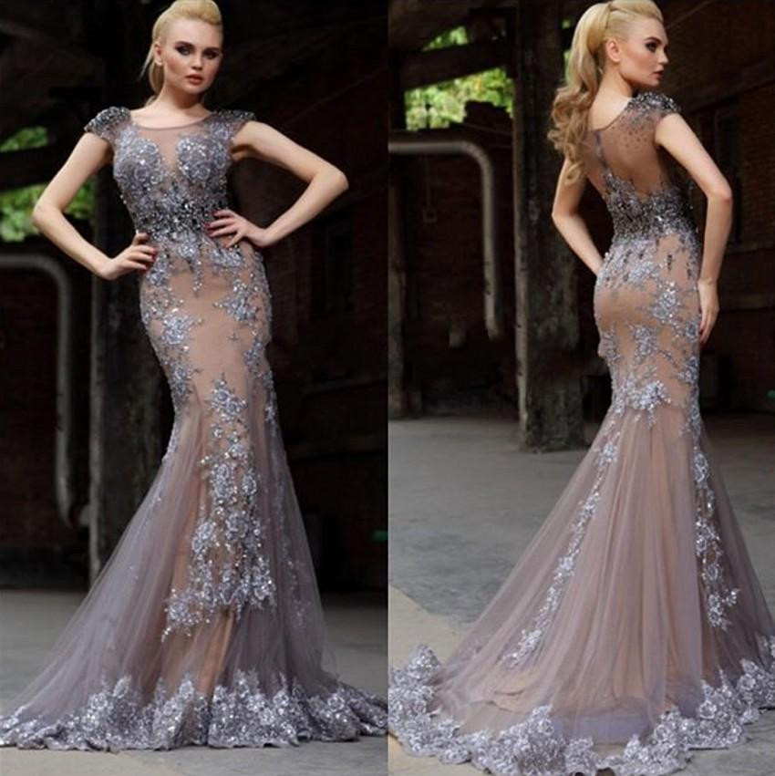 Sexy Lace Mermaid Evening Dress Formal Evening Gowns Gray