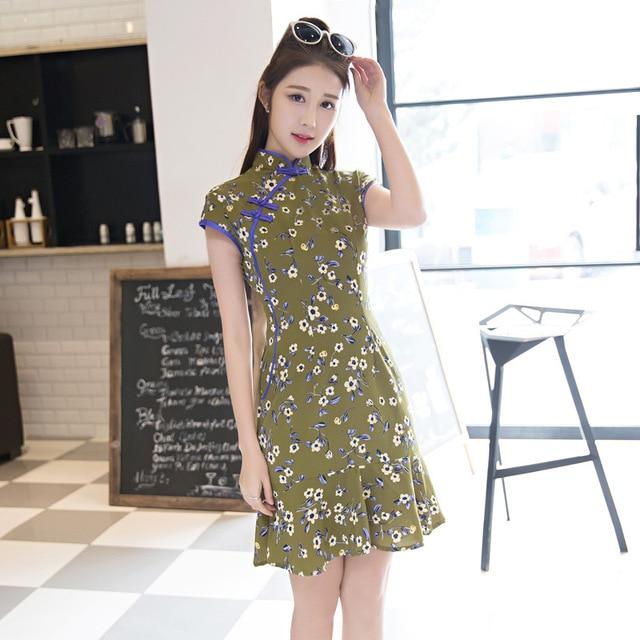 TIC-TEC chinese cheongsam silk short qipao women slim flower print modern elegant trumpet tradicional oriental dresses P3184