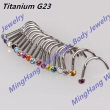 Инкрустация драгоценный камень G23 титана нос шпильки кольцо Mixeds 17 цветов нос кольцо