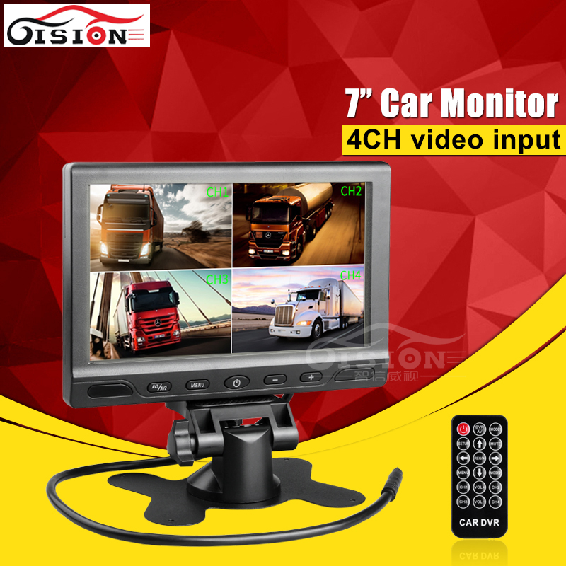 Car Rear View System 7Inch TFT Colour Quad 4CH Video Input Car Monitor For Reverseing CCTV Car Camera Monitor fashion 3 5 inch tft lcd monitor for rear view system cctv monitor