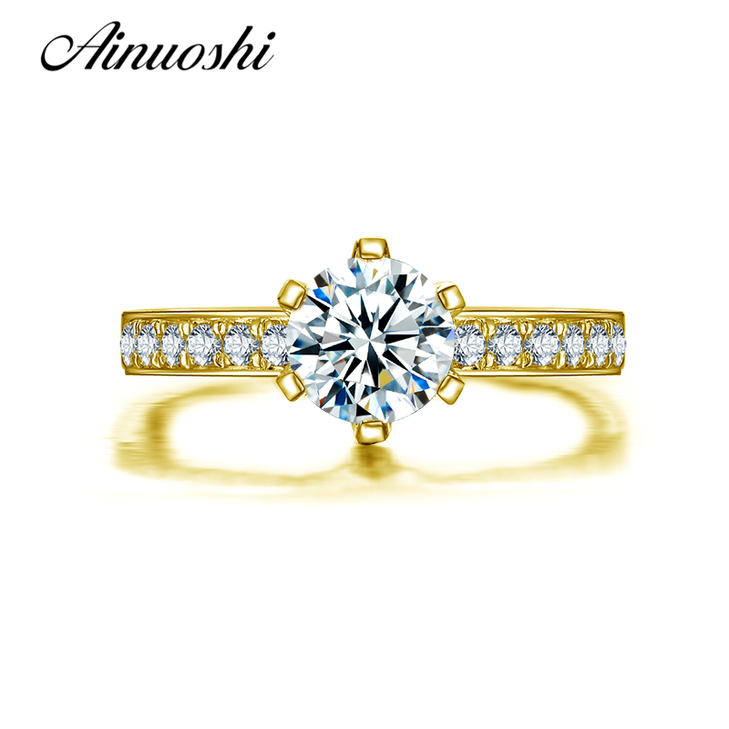 AINUOSHI 10k Solid Yellow Gold Wedding Ring 1 CT 6 Claw Simulated Diamond Shinning Anelli Donna Women Engagement Ring Customized ainuoshi 10k solid yellow gold wedding ring 1 25 ct solitaire simulated diamond anelli donna brilliant proposal rings for women