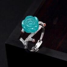 Joseph Mola 925 Sterling Silver Handmade Blue Amazonite Crystal Rose Flower Resizable Rings For Women Wedding Gift Fine Jewelry