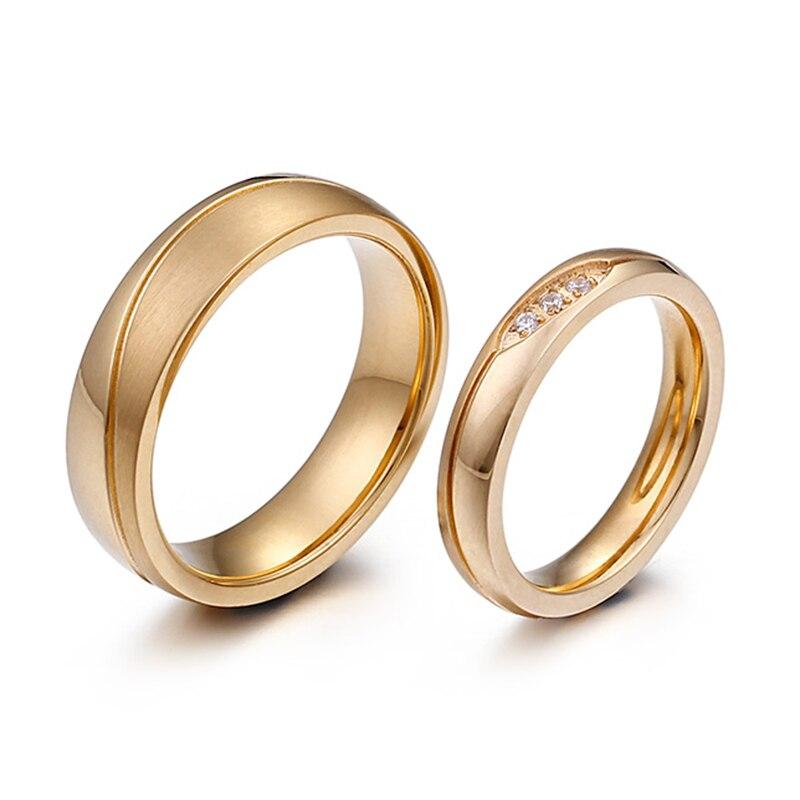 Золото Цвет Альянс кольцо полированной Нержавеющаясталь обручальное кольцо качество покрытия никогда не увядает пару любовь кольцо для Д... ...