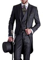 Premium Mens Tail Tuxedo 3pc Tailcoat suit in Gray Black Suit Jacket Vest Suit Pants(Jacket+Pants+Vest)
