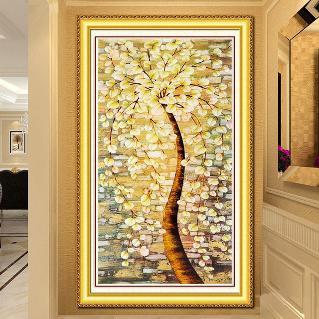 Wealth tree diamond embroidery Living room 5D decoration painting ...