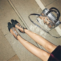 European and American new Bowknot Shallow mouth mid heel Pointed Single shoes Rhinestone Word deduction High heels