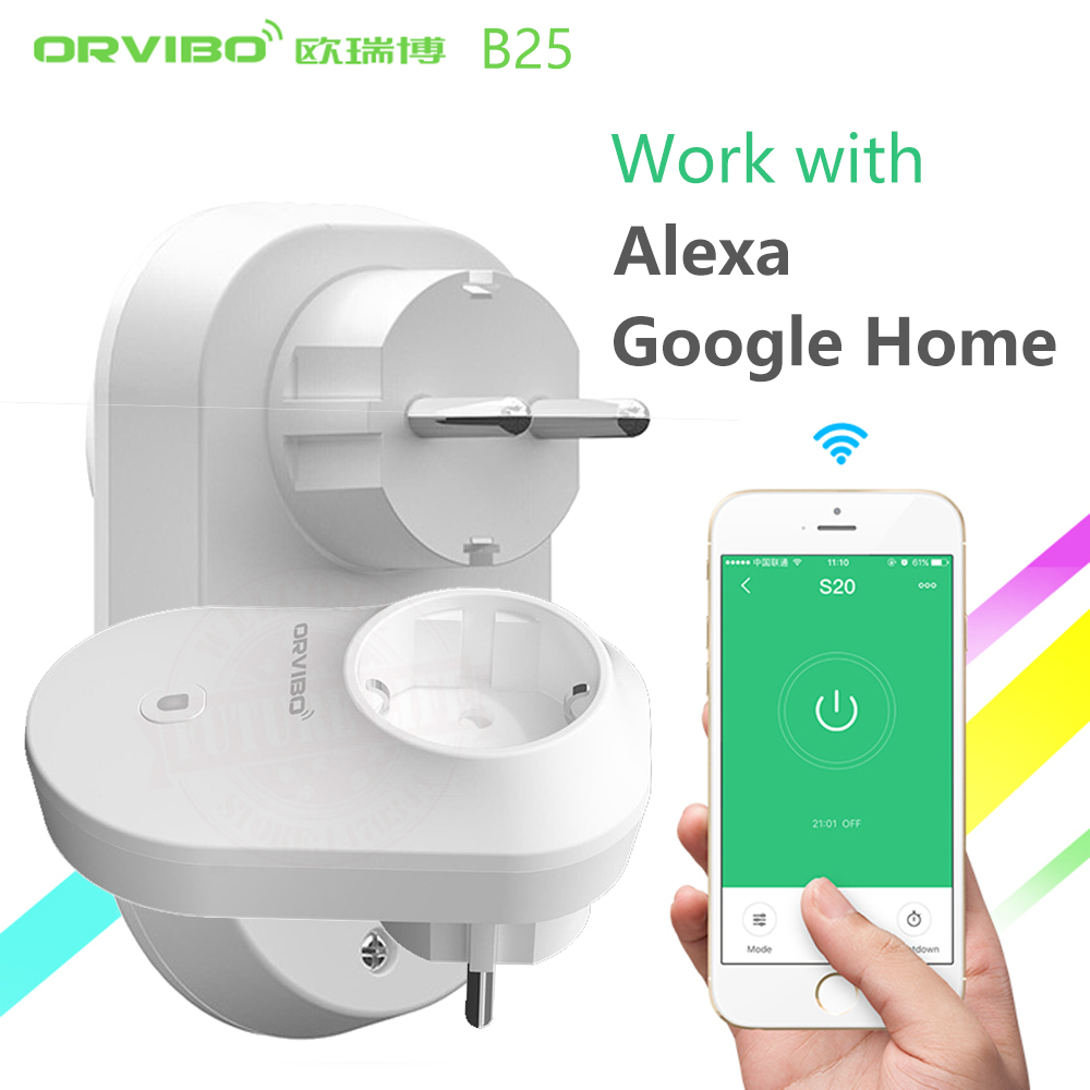 Alexa&Google Home Orvibo B25 EU/UK/US Smart Home System Power Socket Plug 4g/wifi Remote Control Wireless Switch By Smartphone wireless smart socket power control appliance control switch compatible with home security 868mhz x6 alarm system eu uk us plug