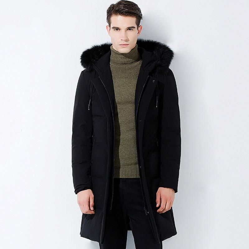 Los hombres de algodón parkas abrigo grueso cuello de piel