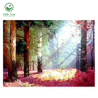 Free Shipping NEW DIY 3D Diamond Painting Quiet Twilight Woods Hand Embroidery Cross Stitch Canvas Oil