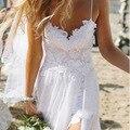 Mulheres sexy verão malha lace dress boho maxi longa noite de festa vestidos beach dress vestido de verão vestido de renda branco
