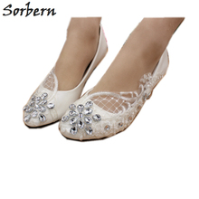 Sorbern מבריק קריסטל תחרה שטוח נעלי חתונה הבוהן מחודדת נוח דירות עקבים כלה נעליים שטוח תחרה אפליקציות Rhinestones