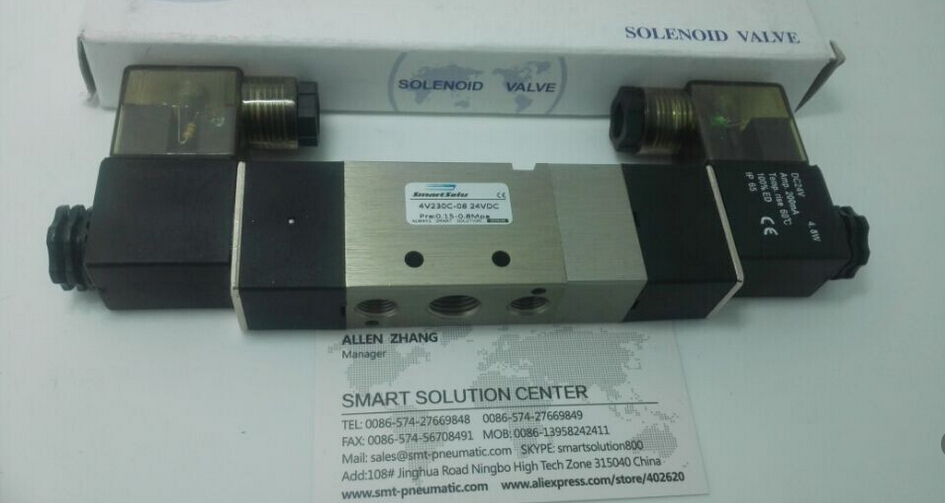 free shipping High Quality 1/4'' 4V230C-08 AC220V 3 Position 5 Way Air Solenoid Valve DC12V,DC24V or AC110V 5 2 way airtac solenoid valve 4v series 4v330c 08 1 4 close centerr dc24v ac220v
