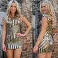 2016 Women Gold Sequins Sexy Bodycon Short Dress Short Sleevele O Neck Slim Mini Dresses Elegant Evening Party Club Dresses