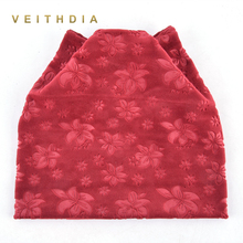 VEITHDIA Autumn Winter Women's Beanies Cat Hat Ladies Warm Velvet Skullies Cap with printing Ear Flaps Cute Girls Bonnet Touca