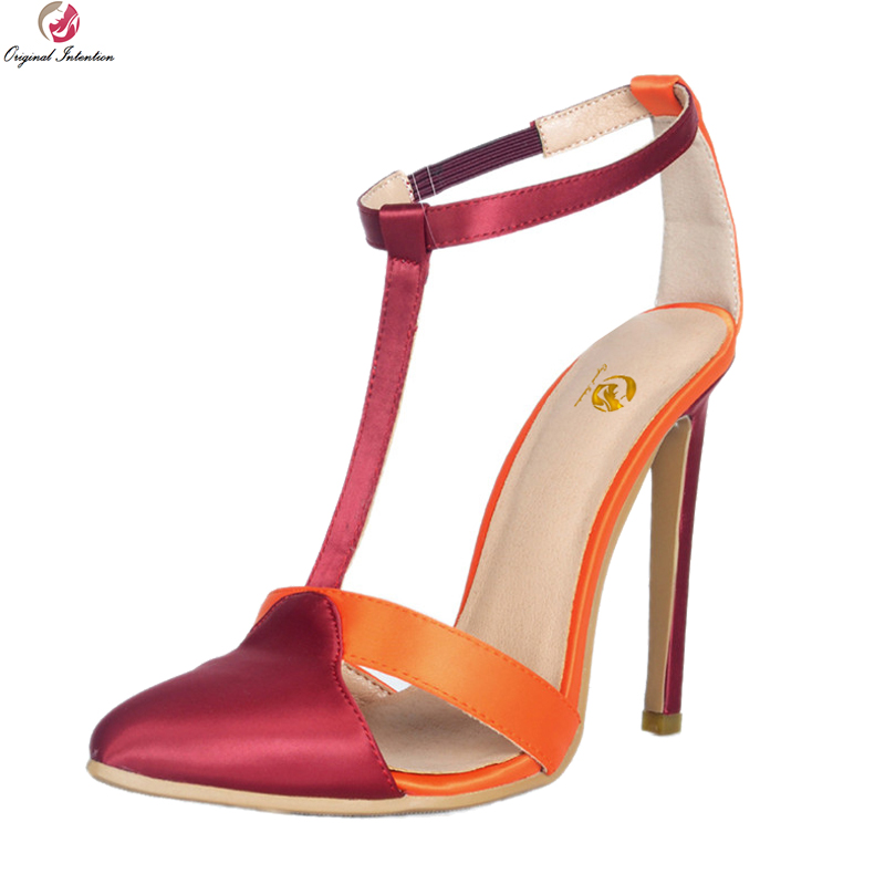 Original Intention Super Elegant Women Sandals Pointed Toe Thin Heels Sandals Orange & Wine Red Shoes Woman Plus US Size 4-15 original intention 2018 super elegant women sandals nice open toe chunky heels sandals beautiful shoes woman plus us size 4 15
