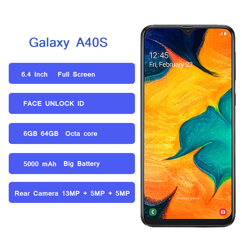 Image 2 - Смартфон samsung Galaxy A40s, 4G LTE, Android, 6,4 дюймов, четыре ядра, 6 ГБ, 64 ГБ, 5000 мАч, супер быстрая зарядка, разблокировка лица, мобильный телефон-in Мобильные телефоны from Мобильные телефоны и телекоммуникации on AliExpress - 11.11_Double 11_Singles' Day