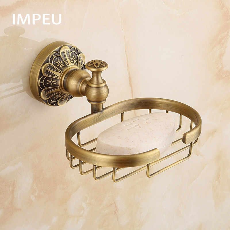 Vintage Style Solid Brass Wall Mounted Bath Shower Soap Dish Holder Bathroom Accessories Soap Basket Antique